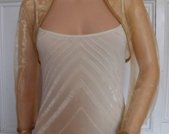 Gold organza shrug three-quarter length sleeve bolero/shrug/jacket  with satin edging