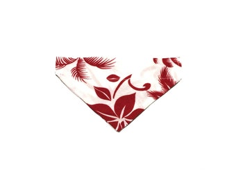 Small Red and White Hawaiian Slip On Dog Bandana Over the Collar