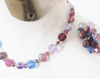 Hattie Carnegie Art Glass Blue Purple Beaded Necklace Earrings signed