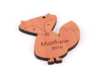 personalized woodland fox ornament, children's Christmas gift for boy or girl, an all natural hardwood keepsake