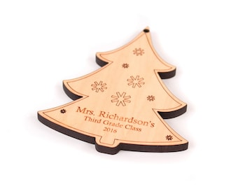personalized Christmas tree ornament - custom heirloom gift for child or adult, unique stocking stuffer homegrown organic finish