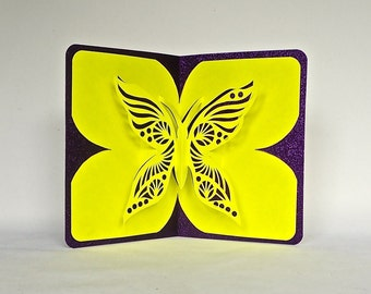 BUTTERFLY LOVE 3D Pop Up Card Handmade Hand Cut in Bright Yellow and Metallic Shimmery Maroon Purple Burgundy One Of A Kind