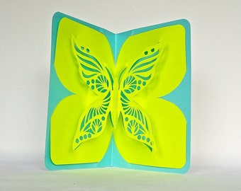 BUTTERFLY LOVE 3D Pop Up Card Handmade Handcut in Neon Green and Metallic Shimmery Turquoise One Of A Kind