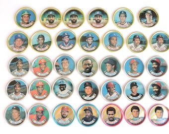 Vintage Major League Baseball Player Metal Coins - Lot of 34 - 1988 Topps National and American League Collectible Photo Coins