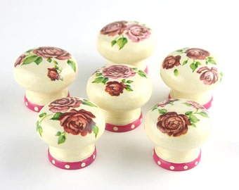 Door Knobs, SALE Price, Last Chance To Buy, Set of 6, Wooden Drawer Knobs, Red Roses Design, 35mm, Drawer Knobs, Ready To Ship