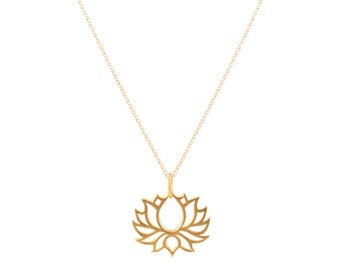 Gold Vermeil Lotus Necklace on Mini Rolo Chain, #6584