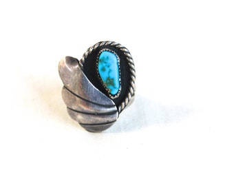 Vintage Turquoise Ring Size 6 .25 Native American Sky Feather Sterling Silver Boho Jewelry