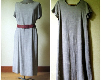 Grey Minimalist Dress long loose oversized baggy loose shift mori girl rayon cotton gauze linen look vintage 90s women large Coldwater Creek