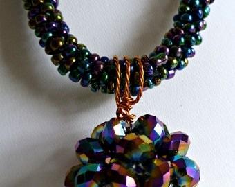 "Beaded kumihimo necklace - rainbow blue iris with blue iris beaded ""disco"" ball bead ""Disco Fever"""