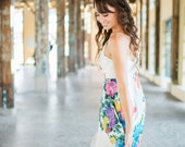 Modern Simple V-Neck Wedding Dress, Alternative Destination Wedding Dress, Floral Print A-line wedding dress Low Back eco friendly