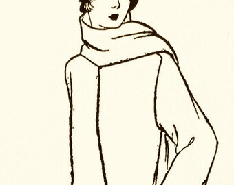 1920s coat pattern with simple, aesthetic lines which give the impression of a more slender, lengthened figure.