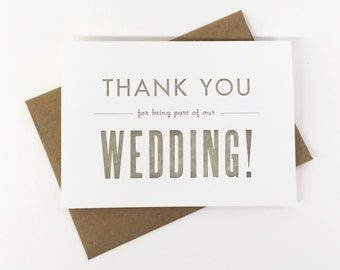 Wedding Thank You Card (25 bulk pack) Thank You For Being A Part Of Our Wedding - Letterpress Thank You Cards