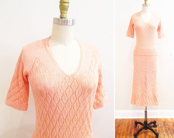Vintage 1930s Dress | Pink Leaf Patternerd 1930s Crochet Dress | 1930s Sweater and Skirt Set | size medium