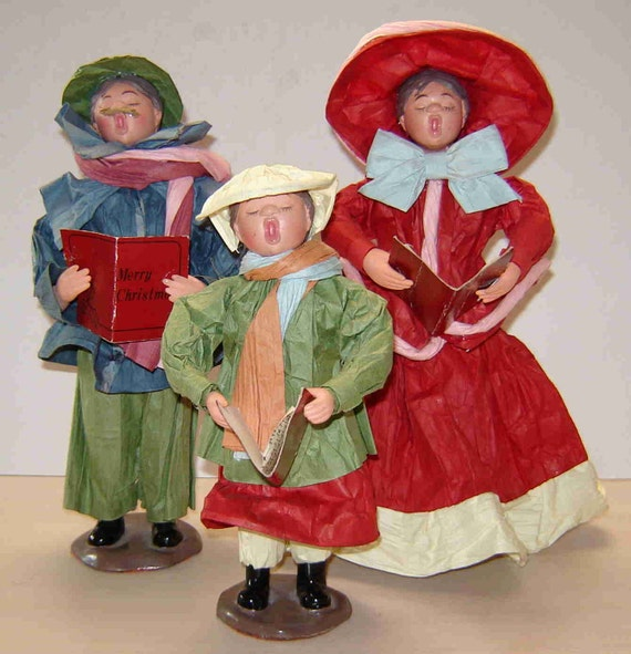 Singing Carolers Candleholders Figurines Vintage By: Pre-Christmas Sale Vintage PAPER MACHE CAROLERS Set Of