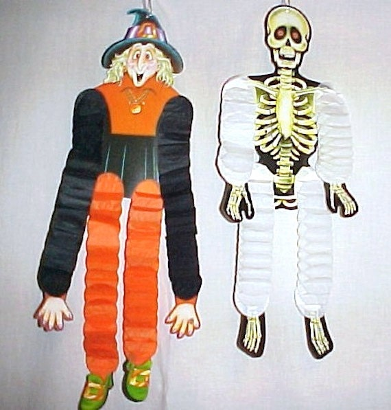 Items similar to vintage 80 39 s beistle halloween skeleton Vintage halloween decorations uk