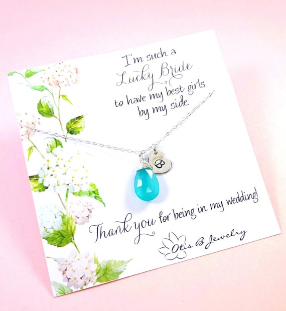 Set of 8: Eight Personalized Bridesmaid necklaces with initial & birthstone, sterling silver bridesmaid gifts for bridal parties