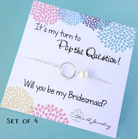Be my Bridesmaid, Bridesmaid gifts, Pearl necklaces, FOUR eternity necklaces, bridesmaid thank you cards, circle necklace, friendship