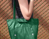 Reversible recycled leather tote