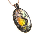 "Labradorite Tree of Life Pendant - Amber & Green Labradorite Cabochon and Natural Copper Wire - 2.75"" x 1.5"" Chain Included"