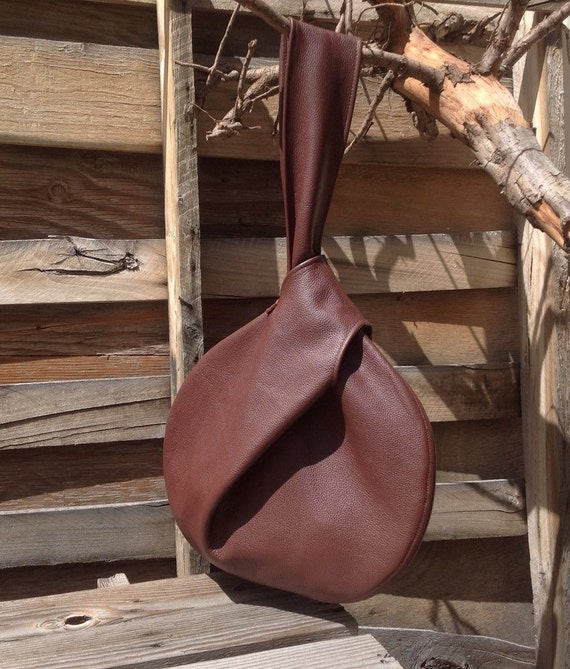 NEW! The Knot Bag-Minimalist Leather Tote in Chocolate