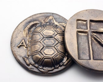 Greek Ancient Coin Paperweight, Bronze Paperweight, Land Tortoise Drachma of Aegina 340 BC. Museum Replica, Greek History, Desk Top Decor