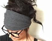 FREE SHIPPING- Charcoal Scrunch Headband, Extra Wide Headband, Jersey Headband, Extra Wide Jersey Headband, (women, teen girls)