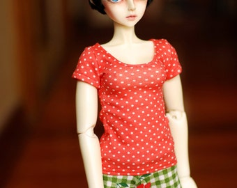 BJD Clothes Red And White Polka Dot Top For SD