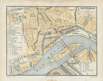 Vintage City Map Rotterdam Netherlands Street Plan 1920s