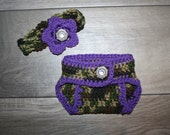 Adorable Camo and Purple Little Hunting Girl Camo Baby Diaper Cover and Headband Baby Shower gift