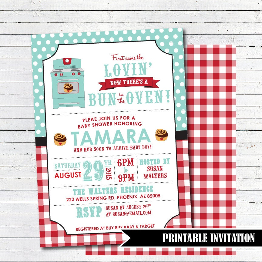 bun in the oven baby shower invitation by tangerinepapershoppe