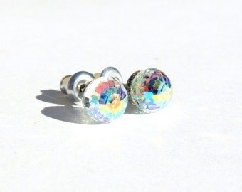 Rainbow Ball Earrings  6mm Round Sphere Aurora Borealis Crystal Clear Swarovski Crystals on Titanium Post Earring  Hypoallergenic Jewelry