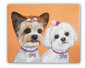 "16x20"" 2 Pet Custom Dog Portrait / Custom Pet Portrait - TWO Pets - Solid Background painting on canvas, Maltese, Yorkie, Dogs, Cats, Birds"