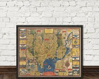 Mapa de reproducción fina de New Haven (Connecticut) - ilustrado mapa - mapa pictórico de New Haven-