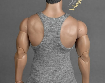 1/6th scale XXL grey tank top for Hot Toys TTM 20 size bigger figures and male dolls