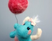Little dragon, soft figurine, blue and pink, cute dragon, needle felted, fantasy creature, pink balloon
