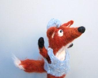 Pirate fox, needle felted, one of a kind, woodland animal, whimsical sculpture, boys room decor, pirate decoration, felt figurine, handmade