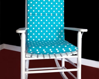 Rocking Chair Cushion Cover - Turquoise White Polka Dot