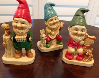 Trio of Gnome figurines with instruments little bunny squirrel and fawn homco vintage