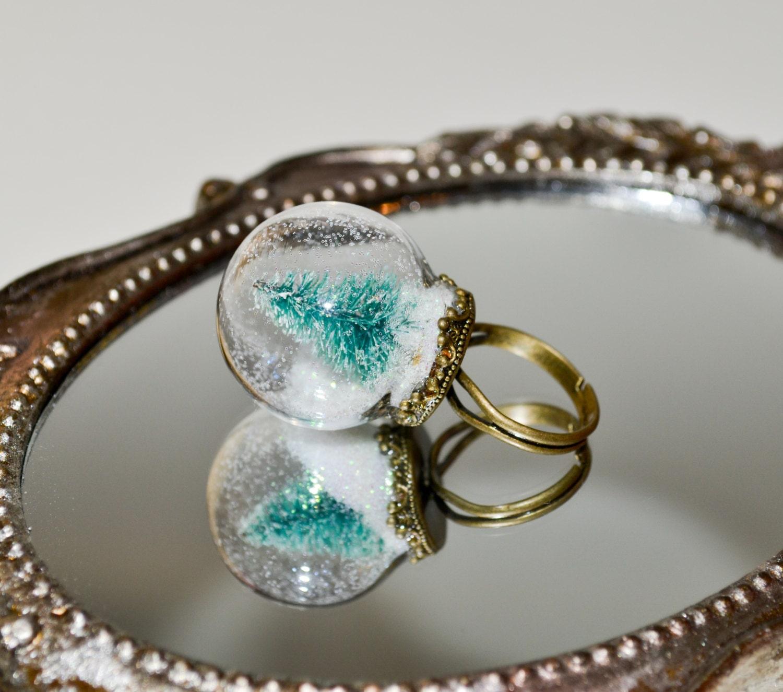 Globe Ring Miniature Christmas Tree Adjustable Ring