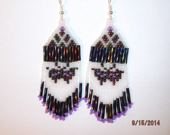 Native American Style Beaded Black Butterfly Earrings in Peacock and Frost with Twisted Bugles  Southwestern, Boho, Hippie, Brick Stitch