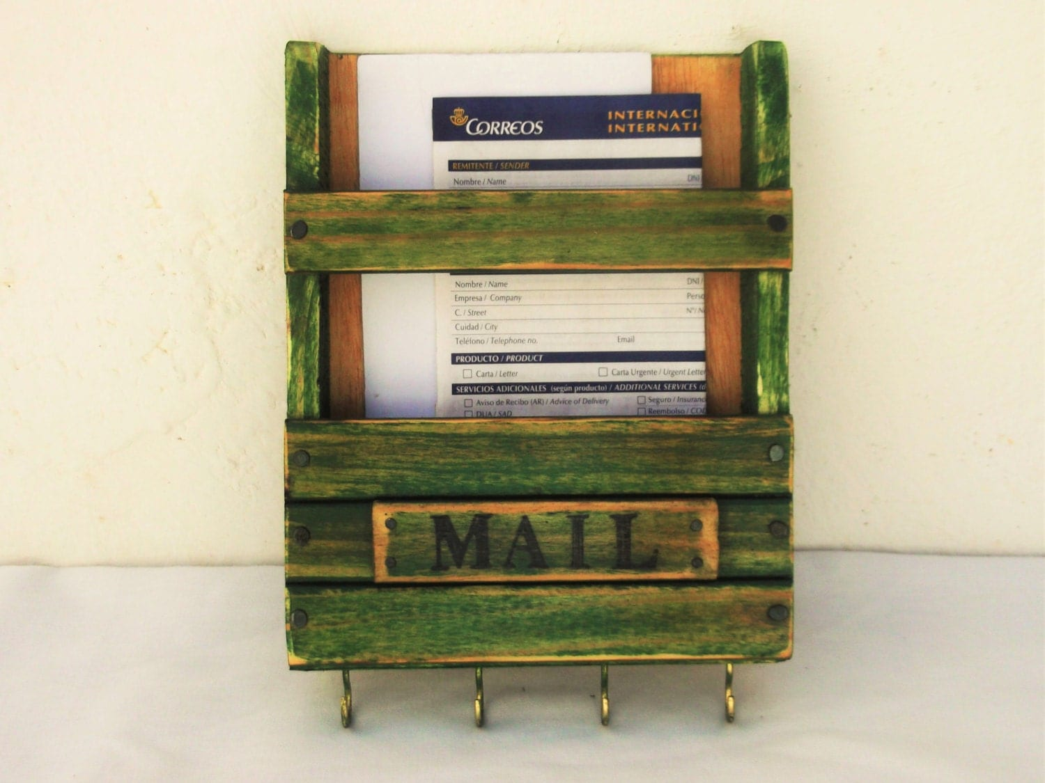 Mail holder and key rack rustic green wooden by regalosrusticos - Mail holder and key rack ...