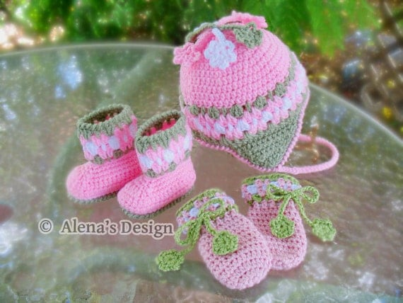Crochet PATTERN Set - Blossom Hat, Baby Booties and Baby Thumb-less  Mittens - Baby Girl Toddler Children Ear Flap Hat  Winter Pink  Booties
