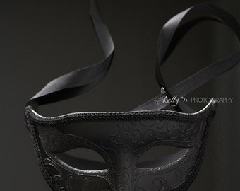 Still Life Photography- Black Mask Photograph, Black Wall Art, Drama Art, Mystery Photograph, Modern Wall Decor, Masquerade Art Print