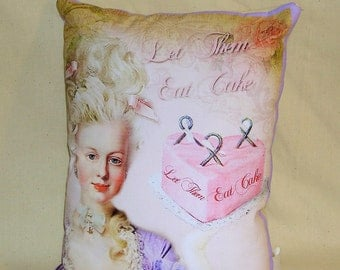 "Marie Antoinette Novelty Pillow ""Let them eat cake"" Quote, Gift Toss & Car Pillow, in Purple and Pink NP-238B"