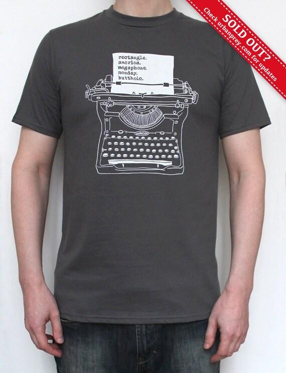 Ron Swanson Typewriter T-shirt for Men, Screenprint, Parks & Recreation, sizes S, M, L, XL, XXL