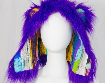 Purple Sparks faux fur hood