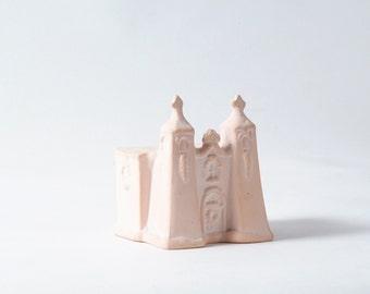 Miniature Church, Adobe Spanish Mission, Pink Ceramic Little House, Christmas Village Church, Architecture