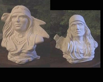 "Choice, 6"", Warrior Bust, Indian Bust, Native American, American Indian, Chief Bust, Ready to paint, u-paint, Ceramic bisque"