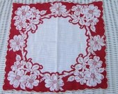 Vintage Hankie Red and white mid century