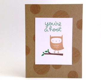 Owl Card - Pun Card - Funny Card for Boyfriend - Friend Card - Funny Husband Card - Thinking of You Card - Cute Hello Card - All Occasion